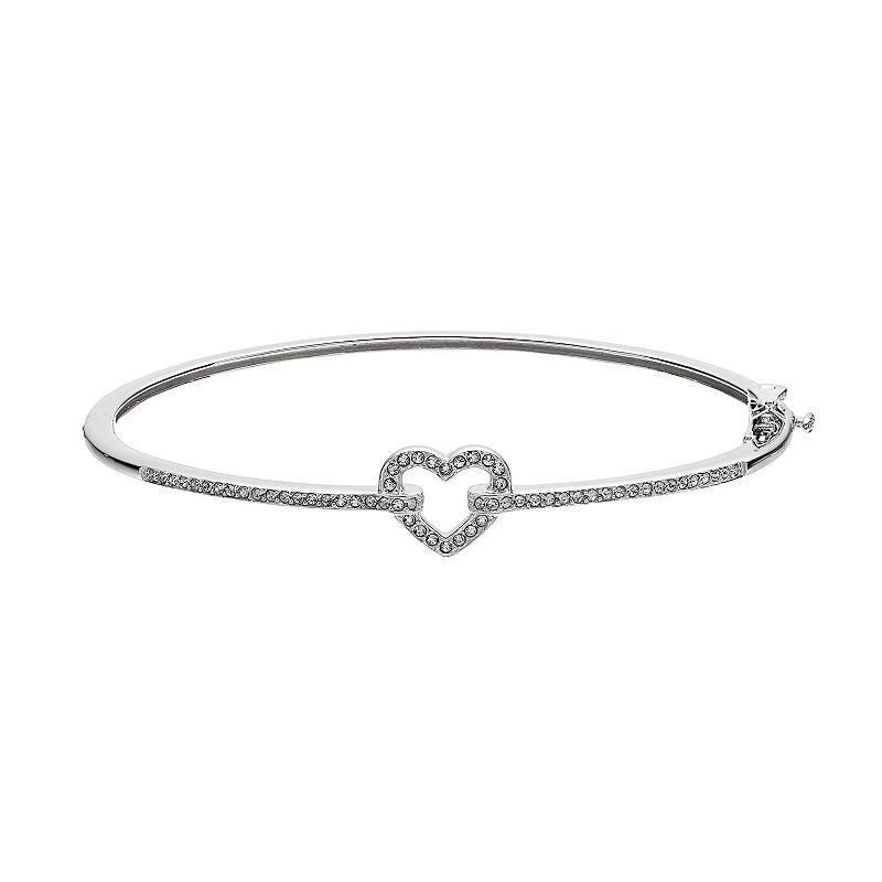 Diamond Essence Sterling Silver Heart Bangle Bracelet - Made with Swarovski Crystals