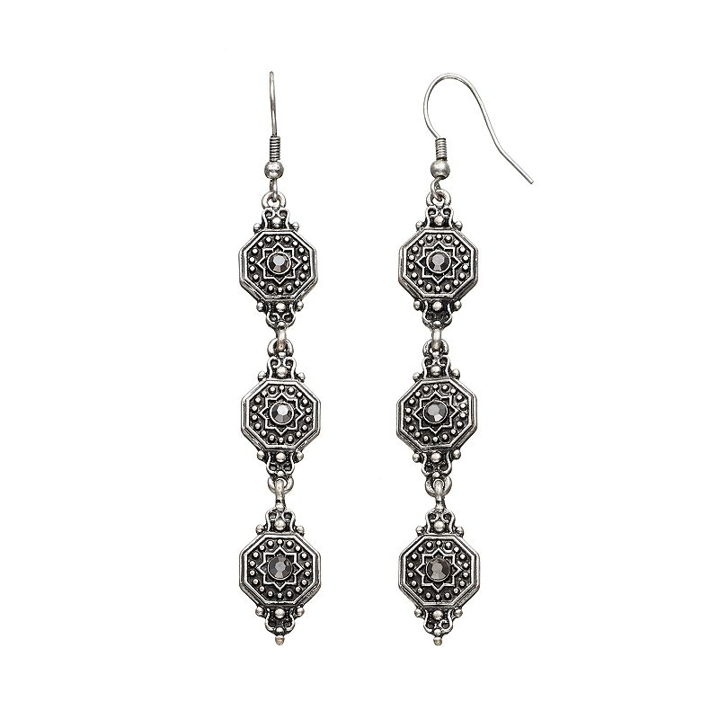 GS by gemma simone Molten Metals Collection Textured Linear Drop Earrings