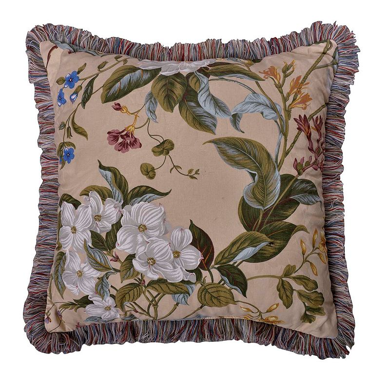 Williamsburg Garden Image Fringe Throw Pillow