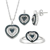 1/10 Carat T.W. Blue & White Diamond Sterling Silver Heart Halo Pendant Necklace, Drop Earring & Ring Set