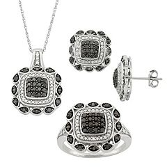 1 Carat T.W. Black & White Diamond Sterling Silver Square Pendant Necklace, Stud Earring & Ring Set by