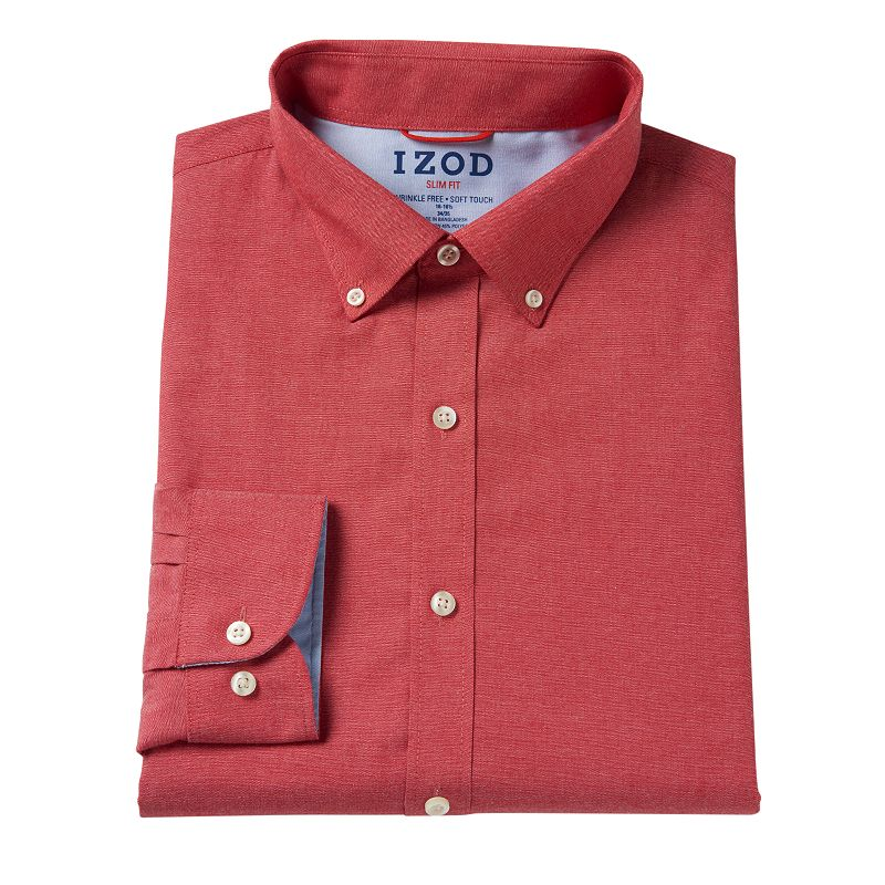 Men 39 s izod slim fit button down collar dress shirt dealtrend for Izod button down shirts