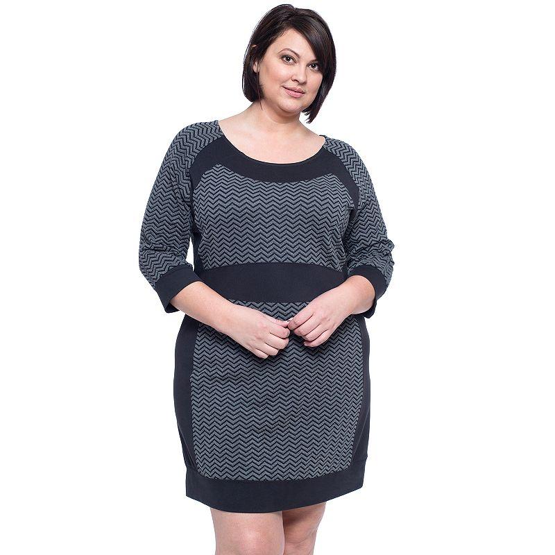 Plus Size Soybu Robyn Chevron Jacquard Dress
