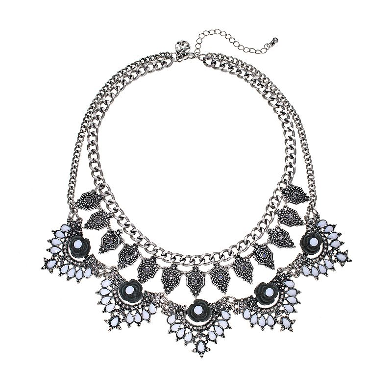 GS by gemma simone Molten Metals Collection Flower Multistrand Bib Necklace
