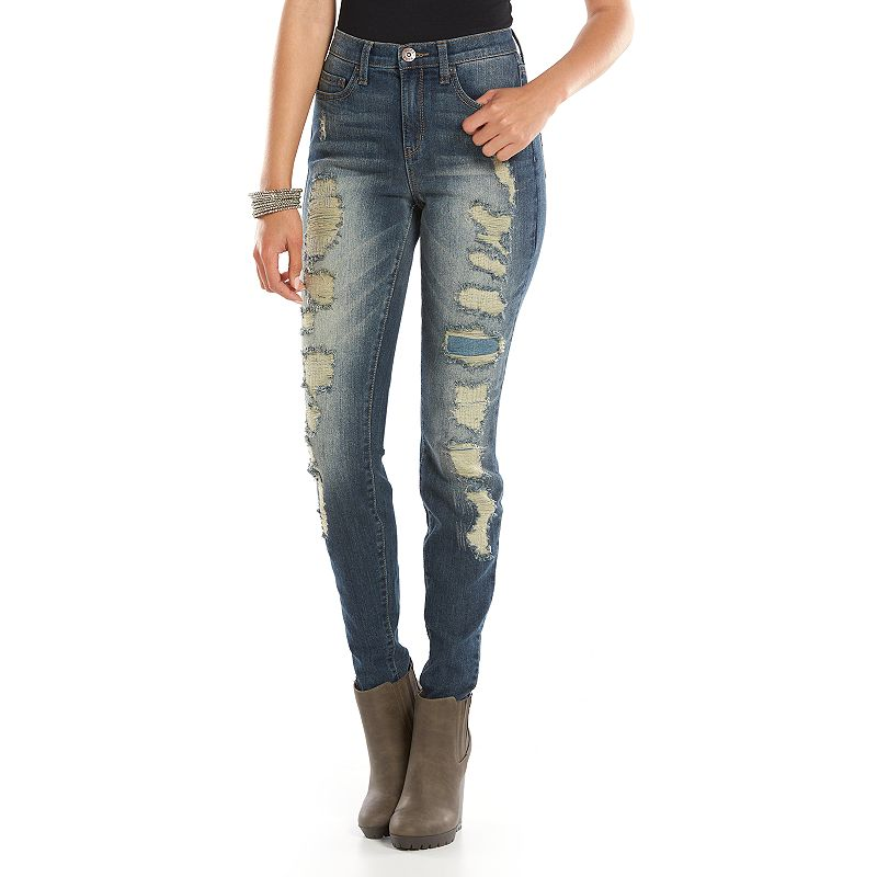 Mudd High-Waisted Skinny Juniors' Jeans, Size: 30 (Blue)