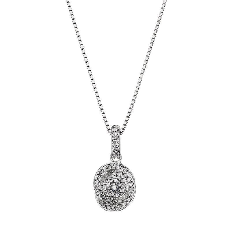 Diamond Essence Sterling Silver Swirl Pendant - Made with Swarovski Crystals