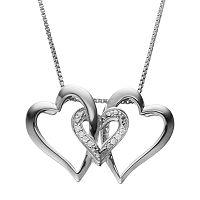 Diamond Accent Sterling Silver Triple Heart Pendant Necklace