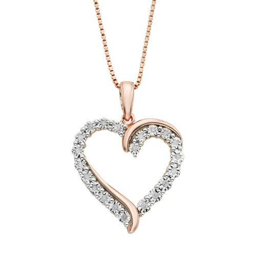 Image result for 1/10 Carat T.W. Diamond 14k Rose Gold Vermeil Heart Pendant Necklace