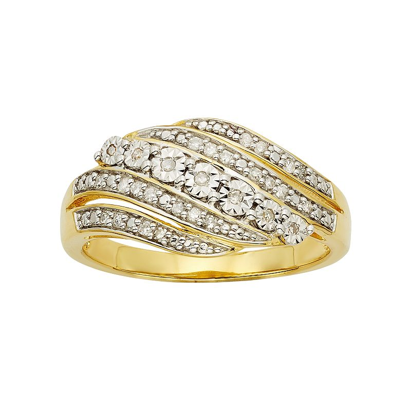 1/6 Carat T.W. 14k Gold Vermeil 5-Row Wave Ring