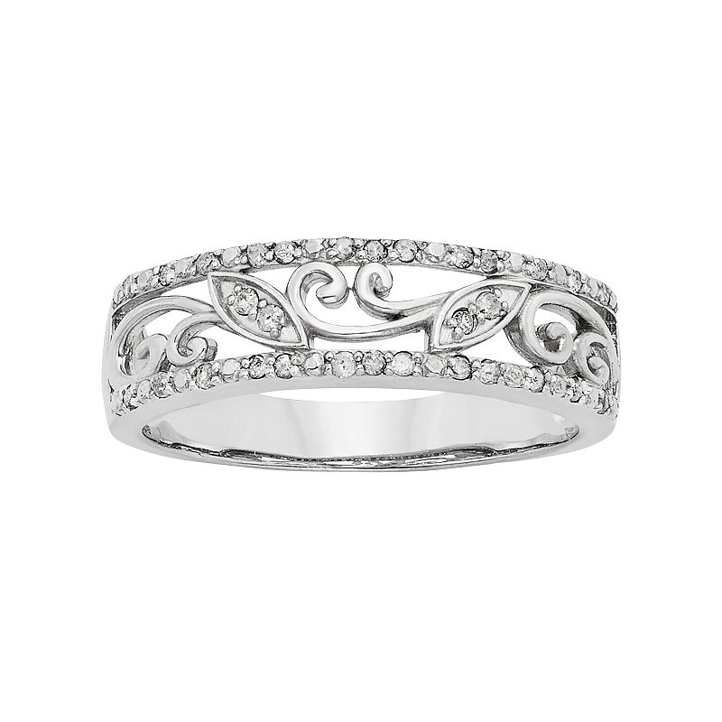 1/6 Carat T.W. Sterling Silver Floral Filigree Ring