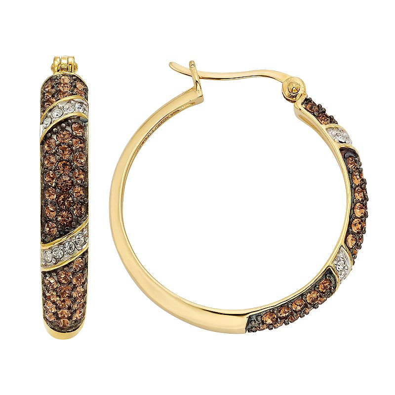 Champagne Brilliance Crystal 14k Gold Over Silver Hoop Earrings - Made with Swarovski Crystals