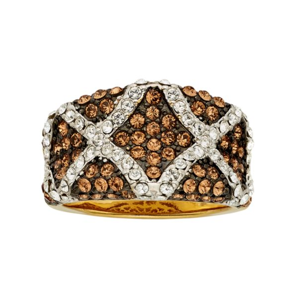 Champagne Brilliance Crystal 14k Gold Over Silver Ring - Made with Swarovski Crystals