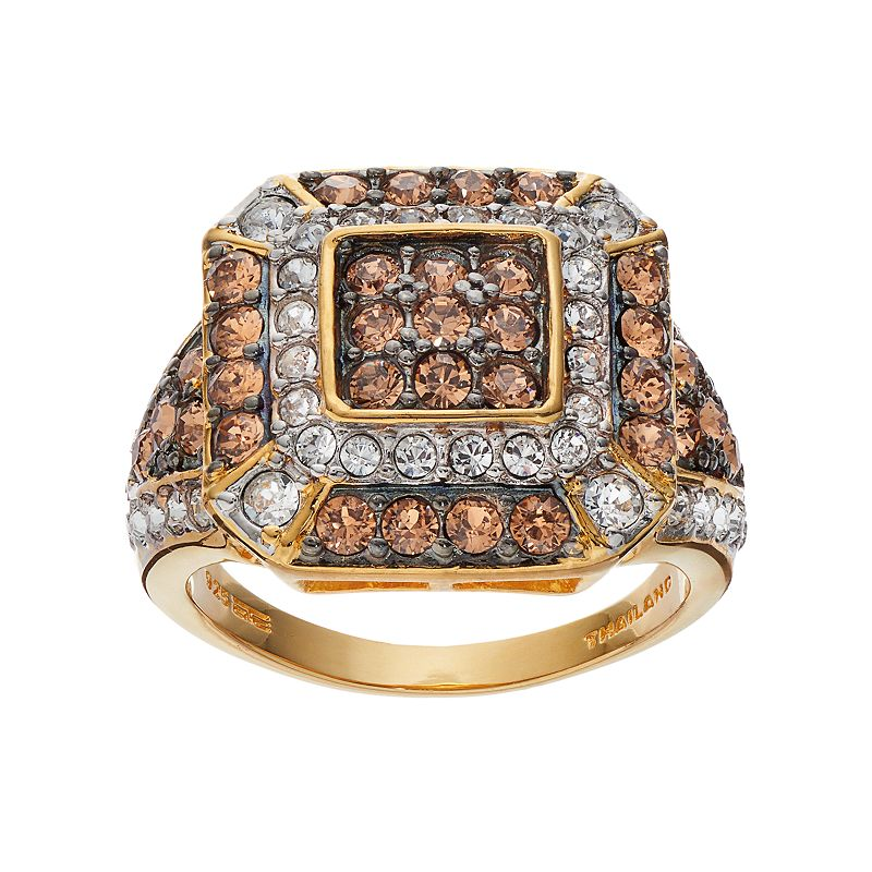 Champagne Brilliance Crystal 14k Gold Vermeil Octagon Ring