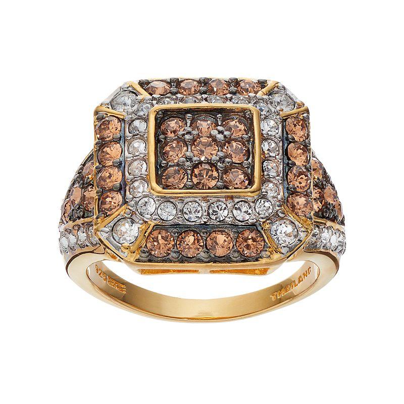 Champagne BrillianceCrystal 14k Gold Vermeil Octagon Ring