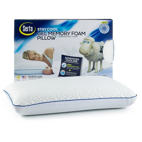 serta stay cool gel memory foam pillow with constantcool cover ebay. Black Bedroom Furniture Sets. Home Design Ideas