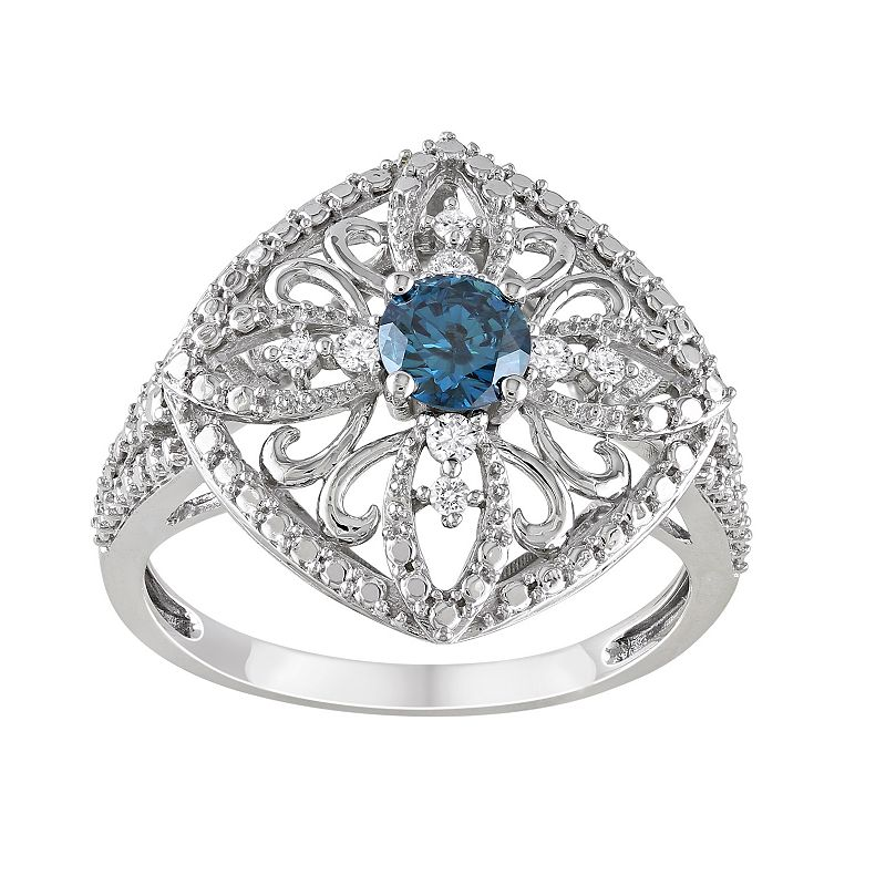 1/2 Carat T.W. Blue & White Diamond 10k White Gold Filigree Ring