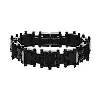 Brooklyn Exchange Black Ion-Plated Stainless Steel H-Link Bracelet - Men