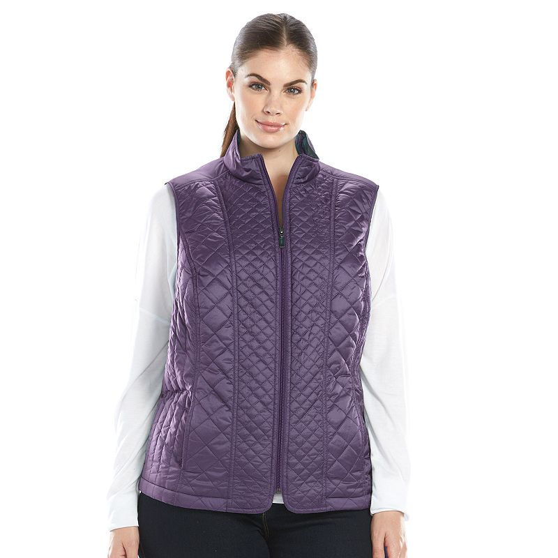 Plus Size Croft & Barrow® Metallic Quilted Vest