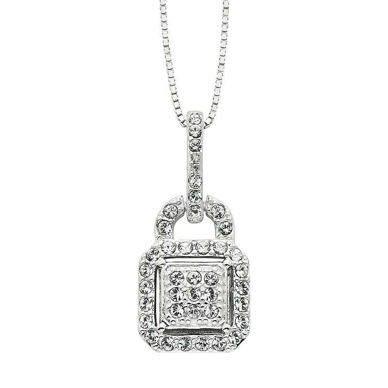 Diamond Essence Crystal & Diamond Accent Sterling Silver Lock Pendant Necklace - Made with Swarovski Crystals