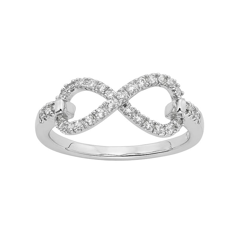 Diamond Essence Cubic Zirconia & Diamond Accent Sterling Silver Infinity Ring - Made with Swarovski Zirconia