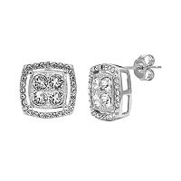 Diamond Essence Crystal & Diamond Accent Sterling Silver Stud Earrings - Made with Swarovski Crystals