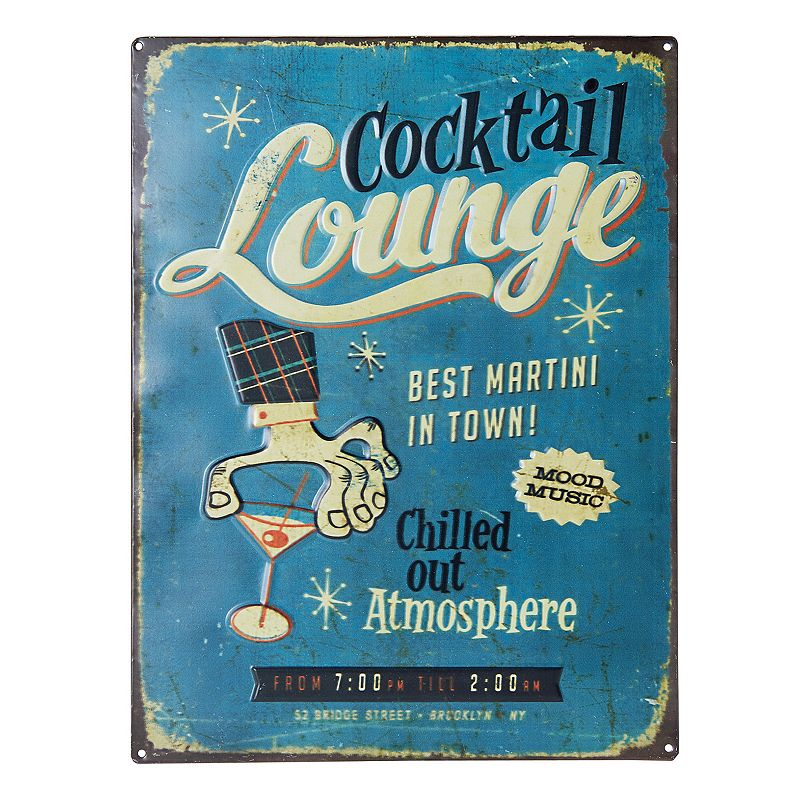Elements ''Cocktail Lounge'' Metal Plaque Wall Decor