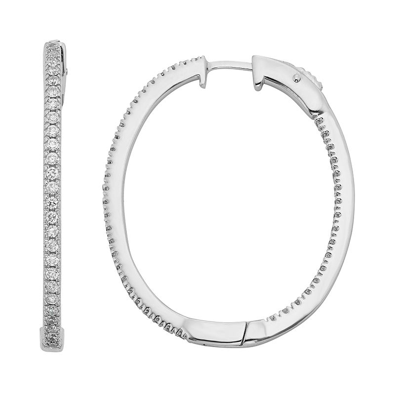 Diamond Essence Crystal & Diamond Accent Sterling Silver Inside-Out Oval Hoop Earrings - Made with Swarovski Crystals