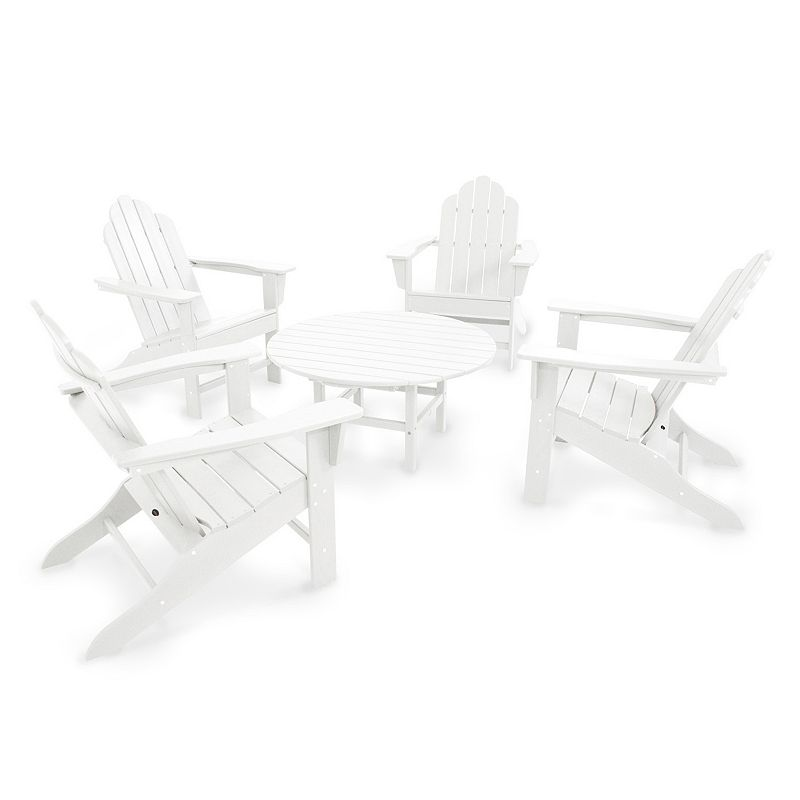 POLYWOOD® Long Island Adirondack 5-piece Round Outdoor Table Set