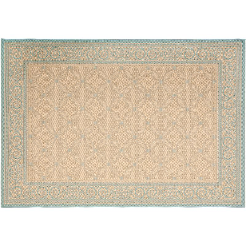 Safavieh Courtyard Cream Aqua Indoor Outdoor Rug