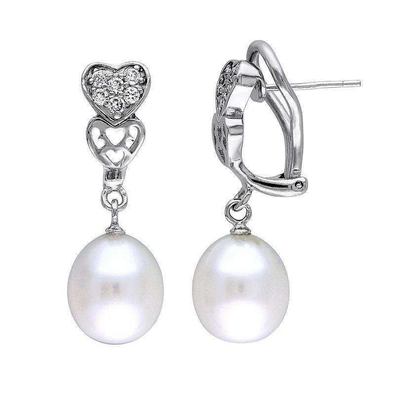 Freshwater Cultured Pearl & Cubic Zirconia Sterling Silver Heart Drop Earrings