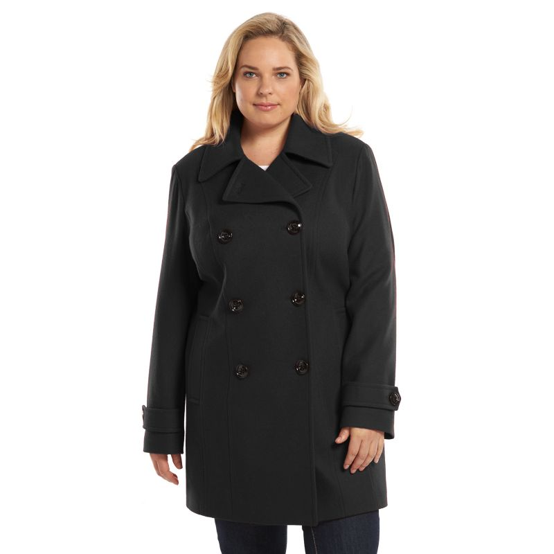 Plus Size Croft & Barrow Double-Breasted Wool-Blend Peacoat, Women's, Size: 1X, Black