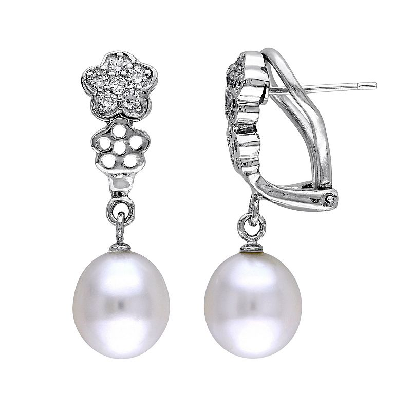 Freshwater Cultured Pearl & Cubic Zirconia Sterling Silver Flower Drop Earrings