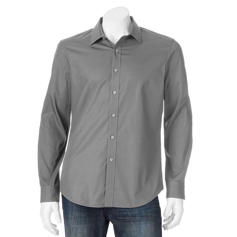 Men's Apt. 9® Slim-Fit Solid Textured Woven Casual Button-Down Shirt