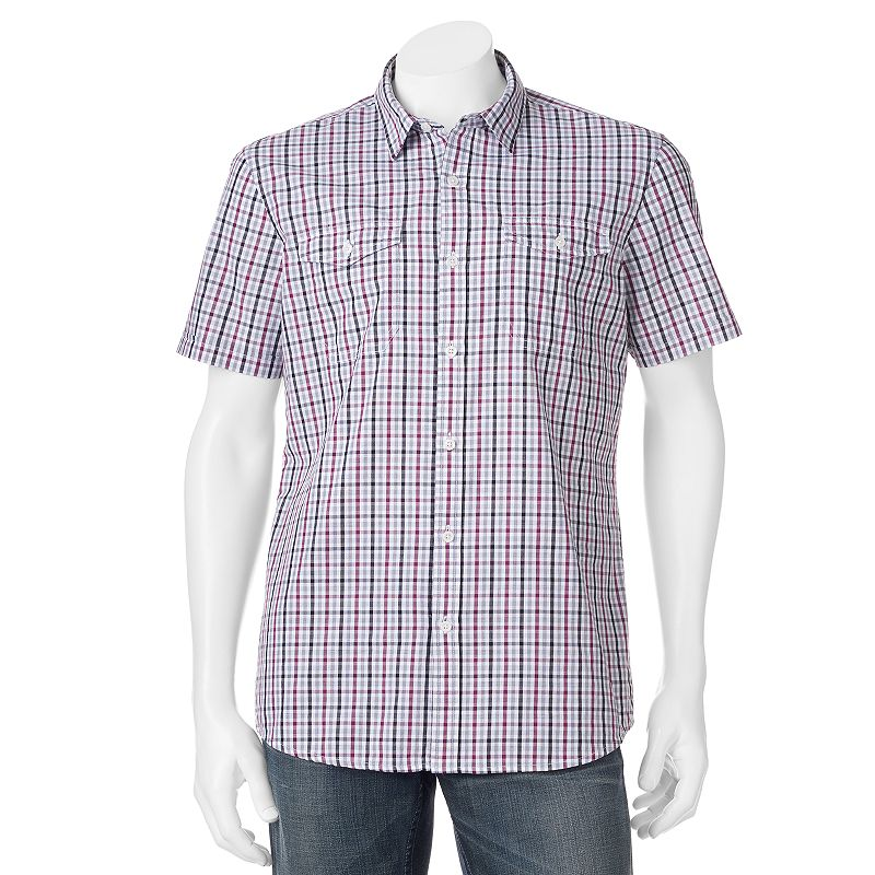 Men's Apt. 9® Modern-Fit Checked Woven Casual Button-Down Shirt