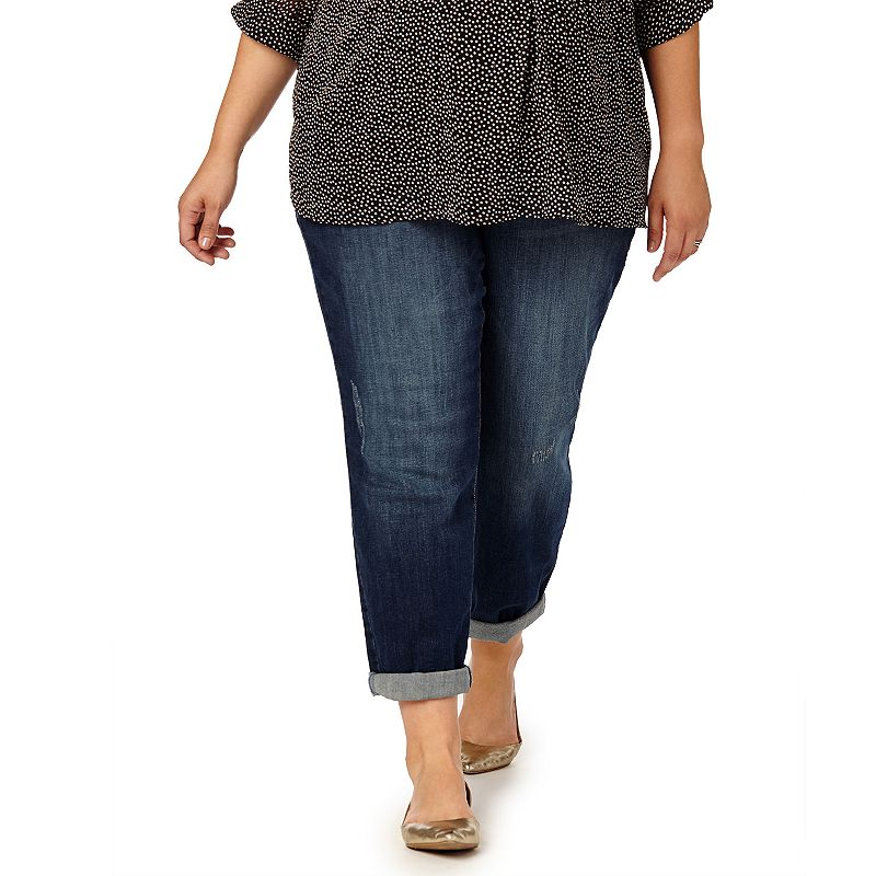 Plus Size Maternity Oh Baby by Motherhood™ Secret Fit Belly™ Distressed Boyfriend Jeans