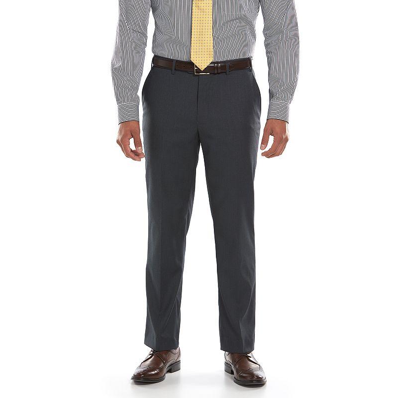 Men's Lazetti Slim-Fit Gray Flat-Front Suit Pants