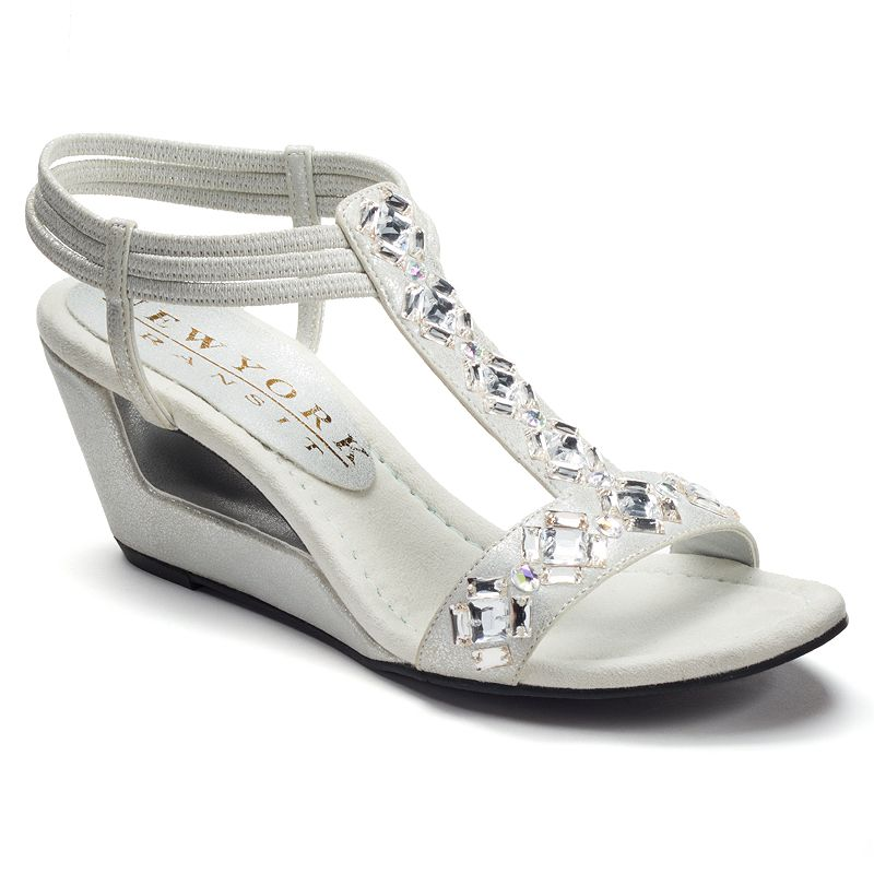 New York Transit Variety Women's T-Strap Wedge Sandals