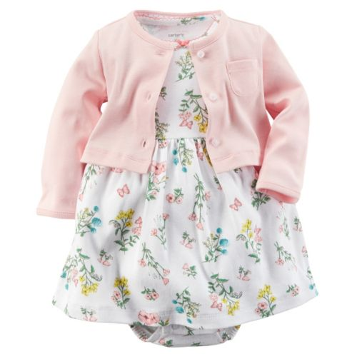 Baby Girl Carter's Floral Bodysuit Dress & Cardigan Set