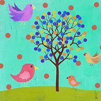 Green Leaf Art Birdies And A Tree Canvas Wall Art