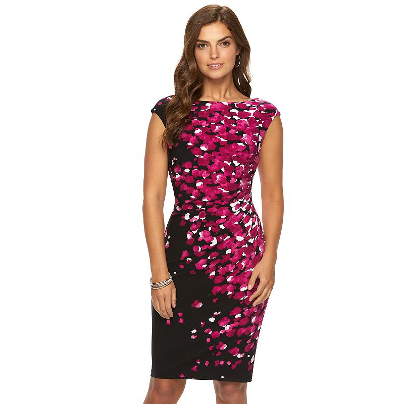 Chaps Printed Pleated Sheath Dress - Women's