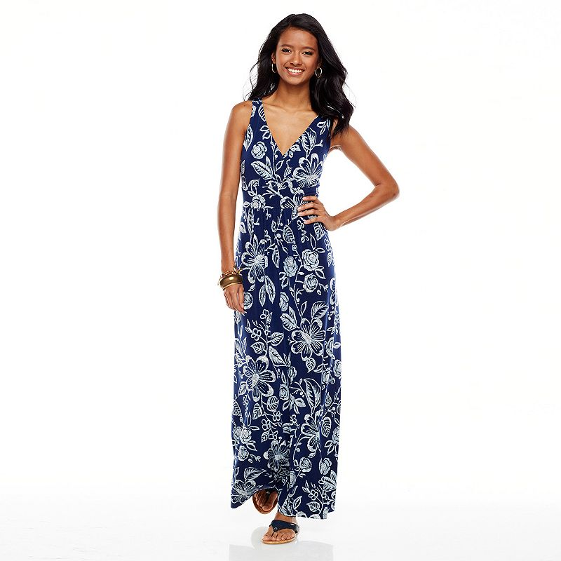 Women's Chaps Printed Empire Maxi Dress