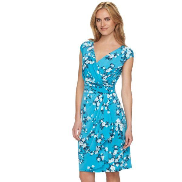 Chaps Floral Crossover Surplice Dress - Women's