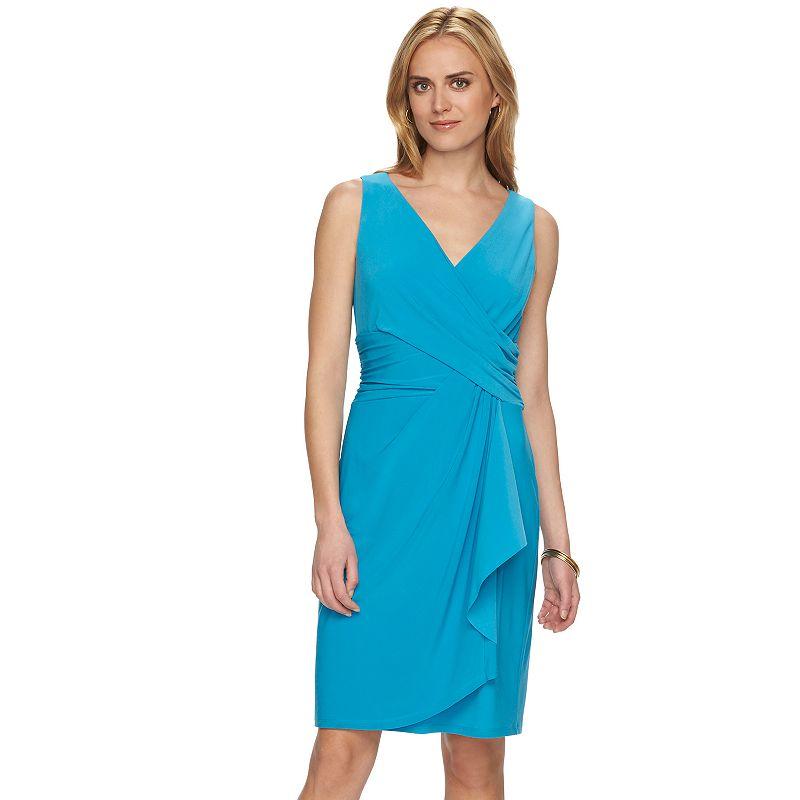 Chaps Surplice Faux-Wrap Dress - Women's
