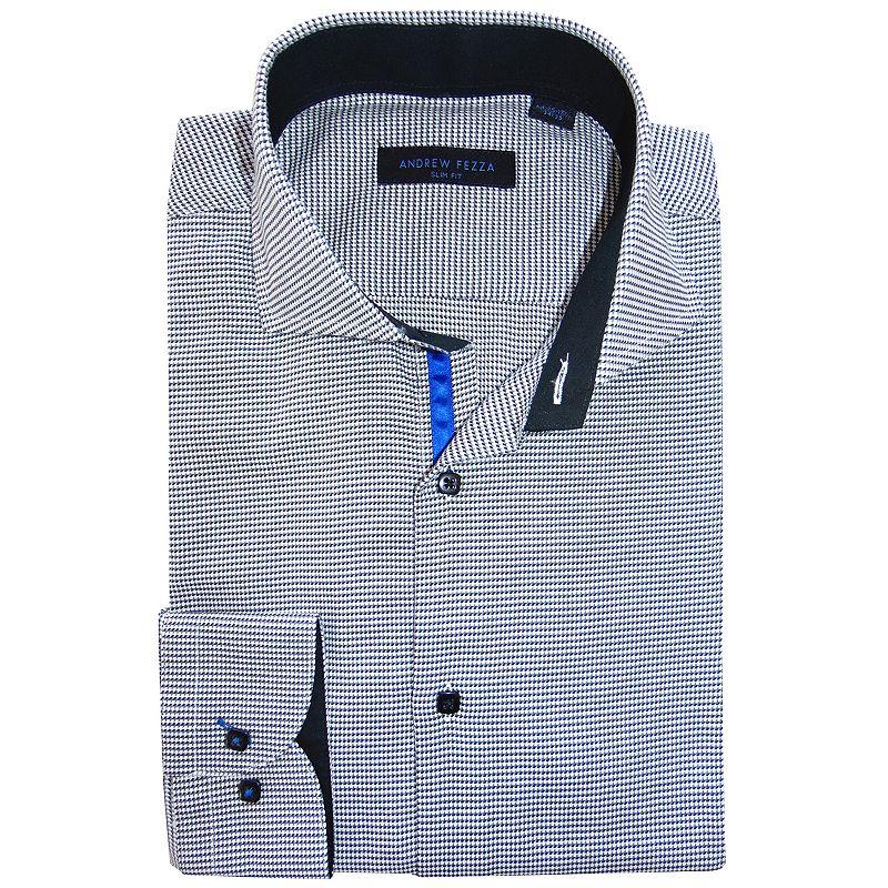 Andrew Fezza Slim Fit Micro Checked Textured Spread Collar