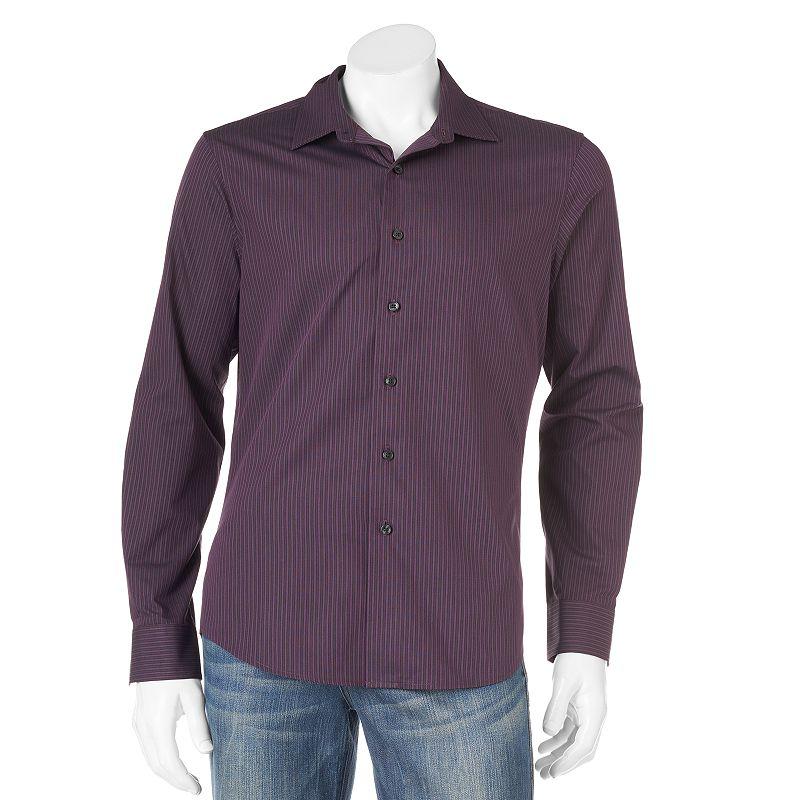 Men's Apt. 9® Slim-Fit Striped Spread-Collar Casual Button-Down Shirt