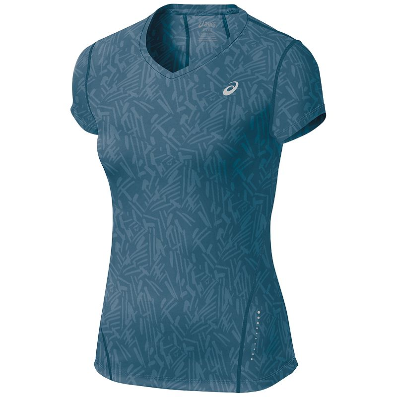 ASICS All-Over Graphic V-Neck Workout Tee - Women's