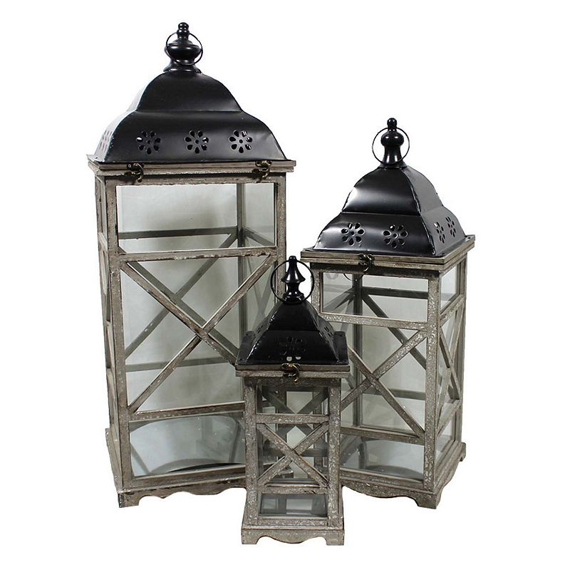 3-piece Wooden Lantern Set