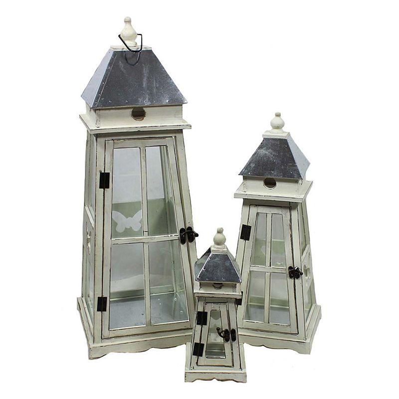 Window Pane 3-piece Wooden Lantern Set