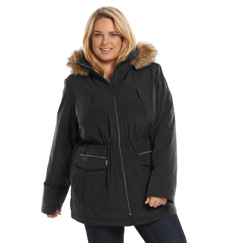Plus Size Croft & Barrow® Hooded Anorak Stadium Jacket, Women's, Size: 1XL, Black