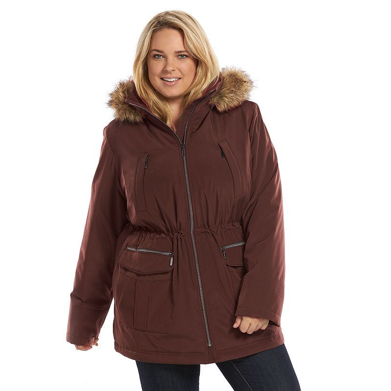 Plus Size Croft & Barrow® Hooded Anorak Stadium Jacket